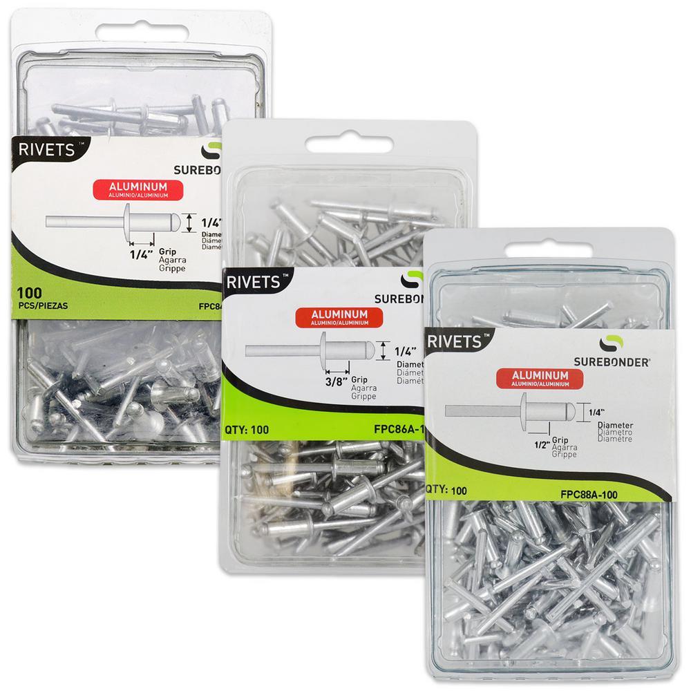 Surebonder 1/4 in  Diameter Aluminum Rivets-FPC848688A-100 - The Home Depot