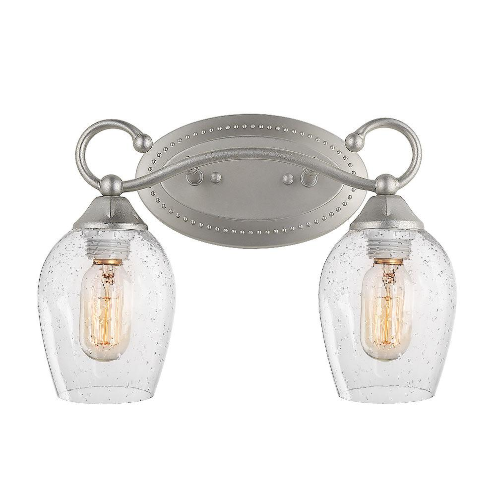 LNC 2-Light Silver Vanity Light with Seeded Glass Shade