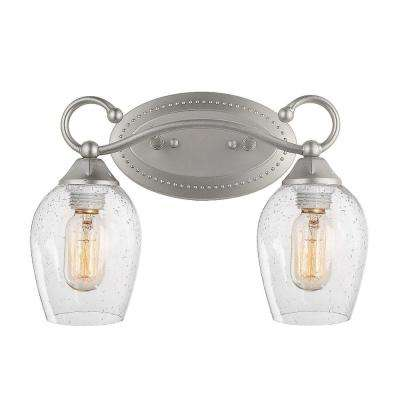 2-Light Silver Vanity Light with Seeded Glass Shade