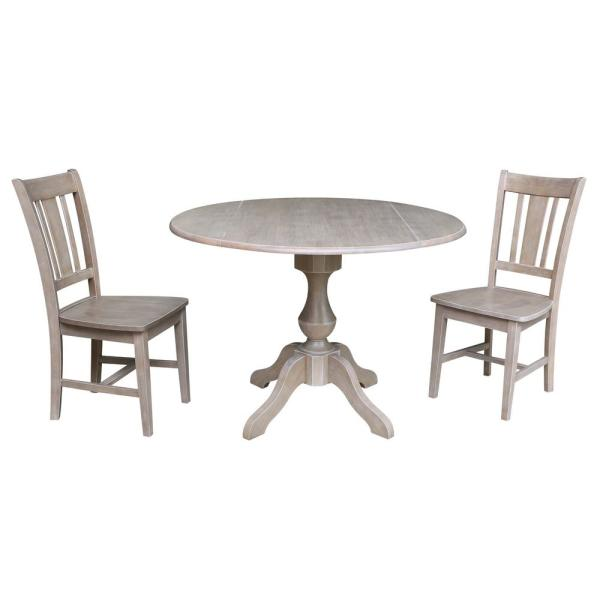 Sophia 3-Piece 42 in. Gray Taupe Round Drop-Leaf Wood Dining Set with San Remo Chairs