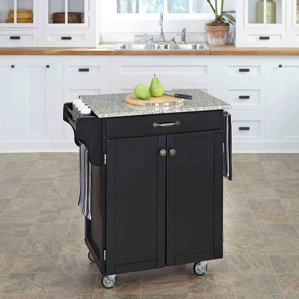 Home Styles Cuisine Cart Black Kitchen Cart With Granite ...