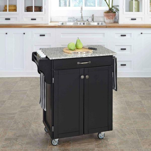 Home Styles Cuisine Cart Black Kitchen Cart With Granite Top 9001-0043