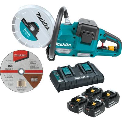 Makita 18V X2 (36V) LXT Lithium‑Ion Brushless Cordless 9 in. Power Cutter Kit, w/ AFT, Electric Brake, 4 Batteries (5.0 Ah)