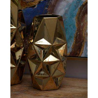 16 in. Geometric Gold Ceramic Decorative Vase