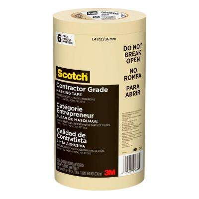 Scotch 1.41 in. x 60.1 yds. Contractor Grade Masking Tape (6-Pack)