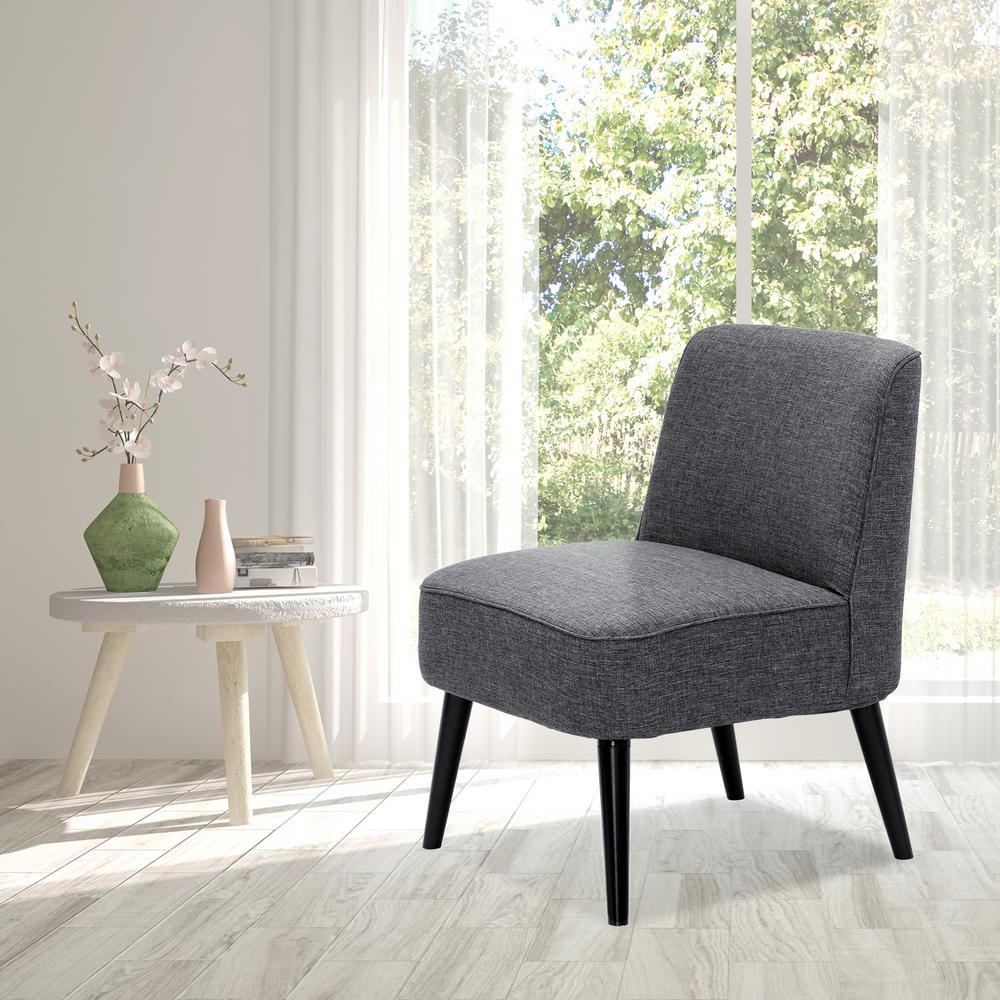 Retro Vintage Dark Grey Fabric Accent Chair