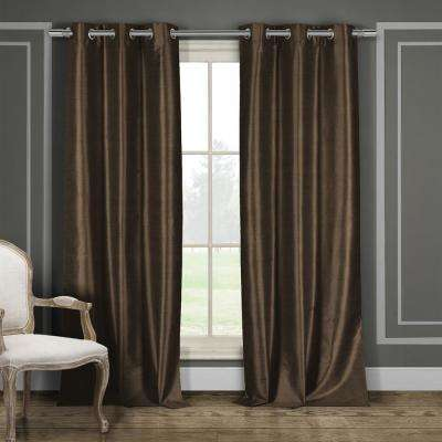Daenerys 38 in. x 96 in. L Polyester Faux Silk Curtain Panel in Chocolate (2-Pack)