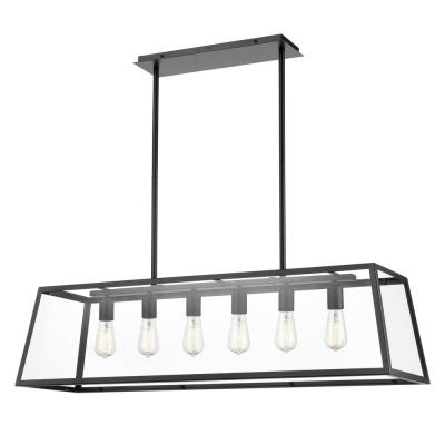 Morley 6-Light Black Chandelier with Clear Glass Shade