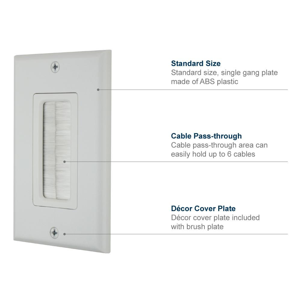 Cable Pass Through Insert Switch Device Mount Decorative Wall Plate for Home Installations HDTV HDMI Home Theater Systems Ivory HONGYE 2-Pack Dual Gang Brush Wall Plate