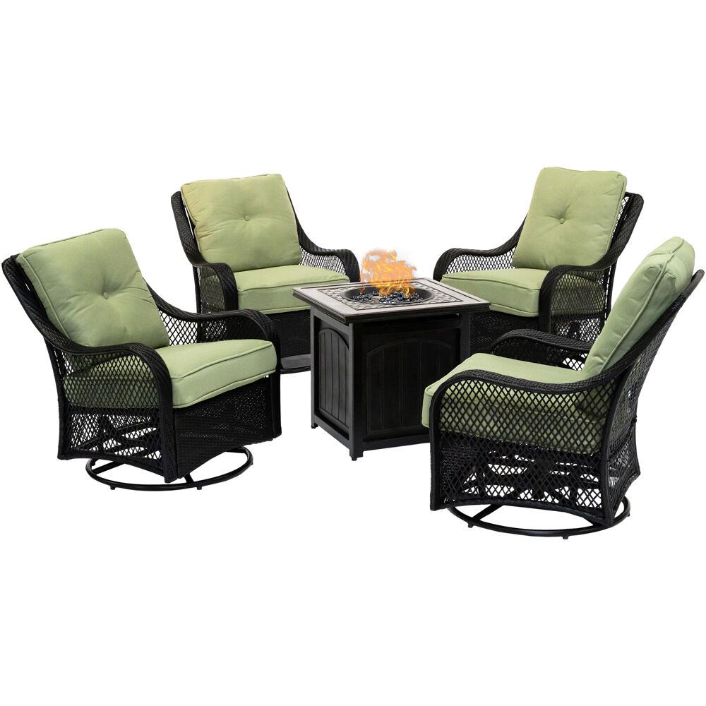 Fantastic Hanover Orleans 5 Piece Steel Patio Fire Pit Conversation Set With Green Jasmine Cushions Swivel Gliders And Fire Pit Table Unemploymentrelief Wooden Chair Designs For Living Room Unemploymentrelieforg