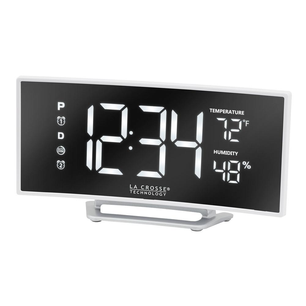 Digital LED Alarm Clock Make-up Mirror Home Table Desktop Home Dual USB Charging