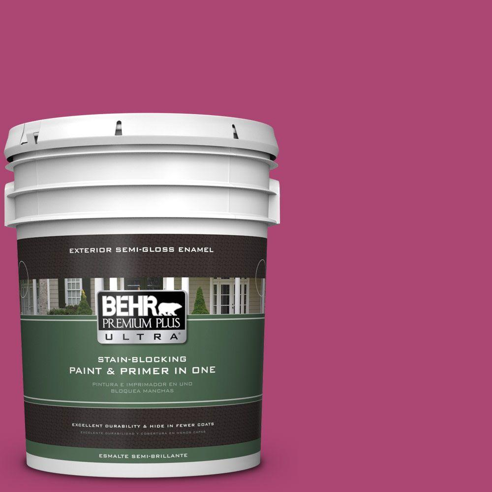 BEHR Premium Plus Ultra 5 gal. #100B-7 Hot Pink Semi-Gloss Enamel ...