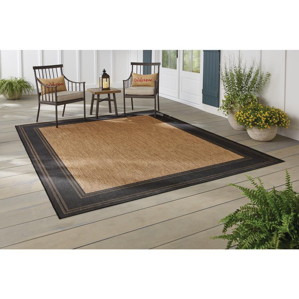 Border Black/Brown 5 ft. 3 in. x 7 ft. Indoor/Outdoor Area Rug