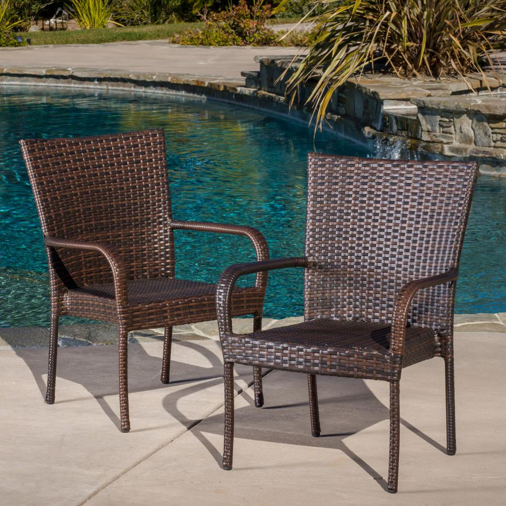 Sensational Noble House Multi Brown Stackable Wicker Outdoor Dining Chairs Set Of 2 Theyellowbook Wood Chair Design Ideas Theyellowbookinfo