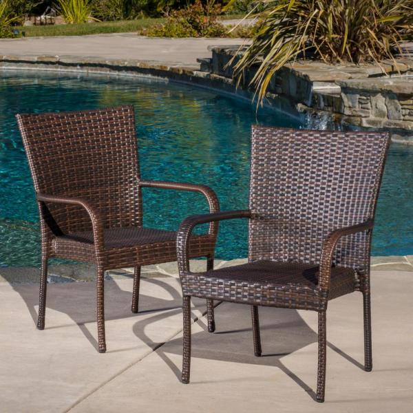 Multi Brown Stackable  Wicker Outdoor Dining Chairs (Set of 2)