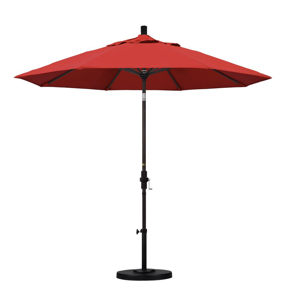 California Umbrella 9 ft. Aluminum Collar Tilt Patio Umbrella in Red Olefin