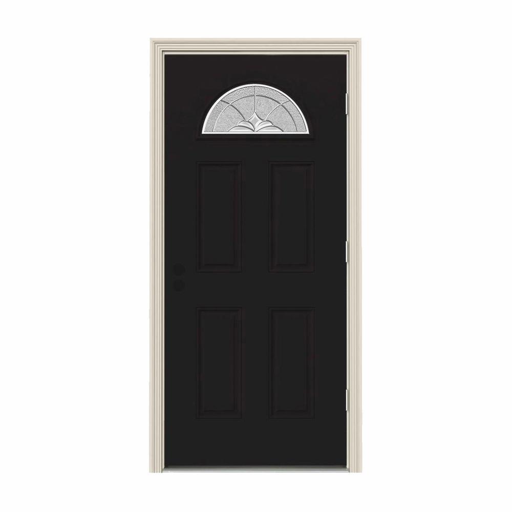 32 in. x 80 in. Fan Lite Langford Black w/ White Interior Steel Prehung Left-Hand Outswing Front Door w/Brickmould