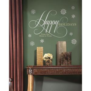 32 in. x 17.5 in. Happy Holidays Quote Peel and Stick Giant Wall Decals with Glitter