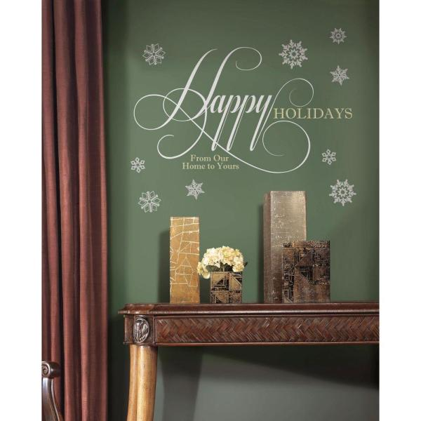 RoomMates 32 in. x 17.5 in. Happy Holidays Quote Peel and Stick Giant Wall Decals with Glitter