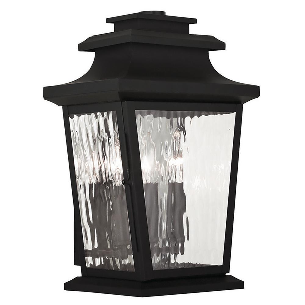 Hathaway 3-Light Black Outdoor Wall Mount Lantern