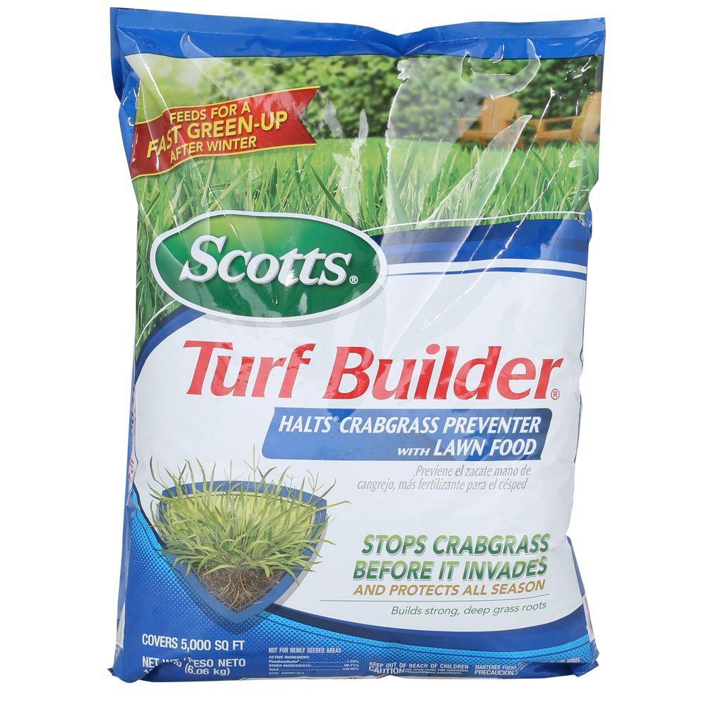 scotts turf builder 12 5 lb 5 000 sq ft winterguard fall lawn