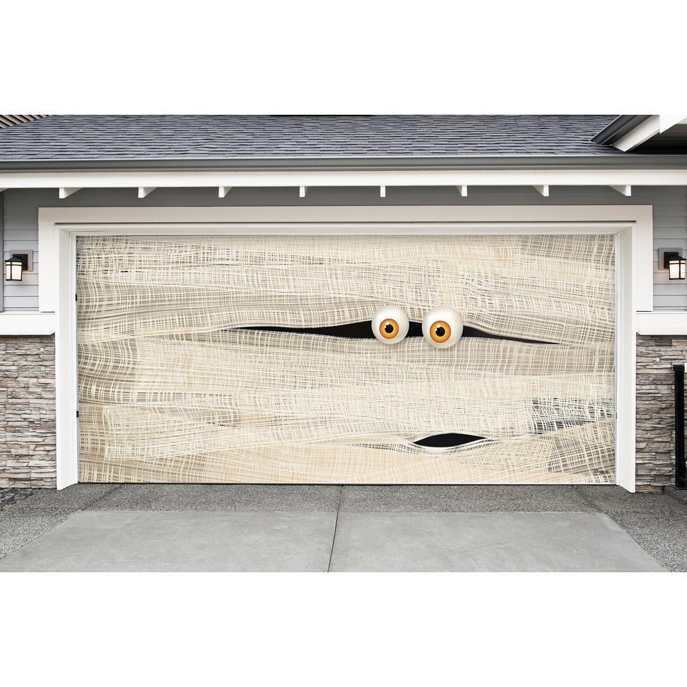 My Door Decor 7 ft x 16 ft Halloween Mummy Face Garage Door Decor Mural for Double Car Garage Car Garage