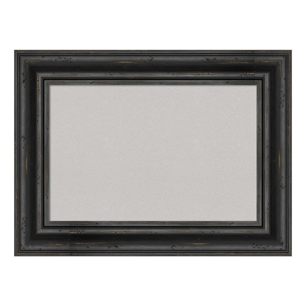 Rustic Pine Black Framed Grey Cork Memo Board