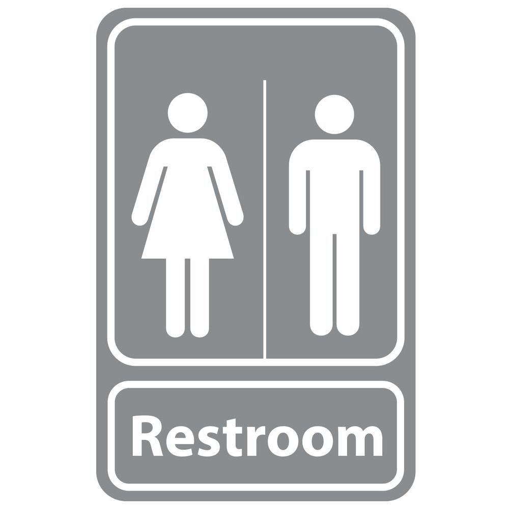 Rectangular Plastic Grey Bathroom Sign