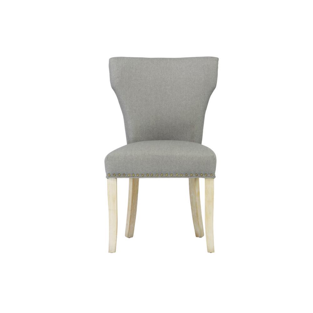 Sleek Grey Linen Dining Chair Set Of 2