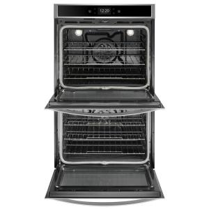 Whirlpool 30 in  Smart Double Electric Wall Oven with True Convection  Cooking in Black on Stainless Steel