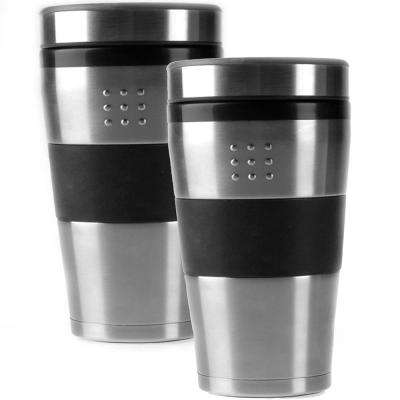 Orion Stainless Steel with Black Accent 7 in. Travel Mugs (Set of 2)