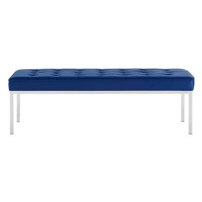 Loft Silver Navy Tufted Button Large Upholstered Faux Leather Bench