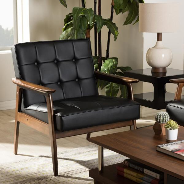 Baxton Studio Stratham Black Faux Leather Upholstered Accent Chair 28862-4246-HD