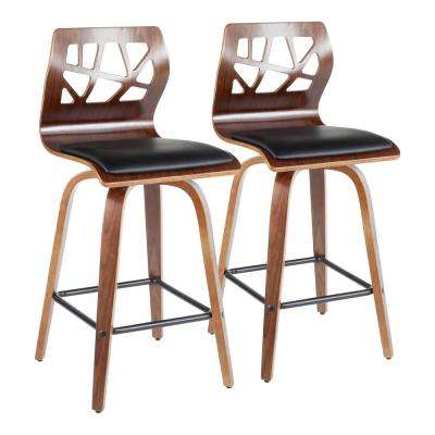 Folia 26 in. Walnut Wood and Black Faux Leather Counter Stool (Set of 2)