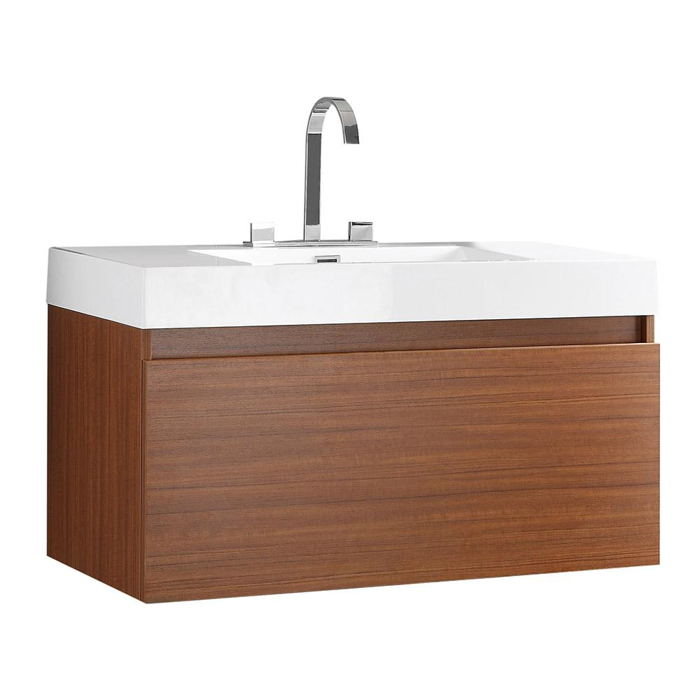Fresca Mezzo 40 In Bath Vanity In Teak With Acrylic Vanity Top In White With White Basin