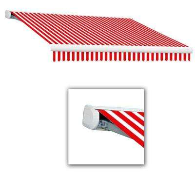 14 ft. Key West Full-Cassette Left Motor Retractable Awning with Remote (120 in. Projection) in Red/White