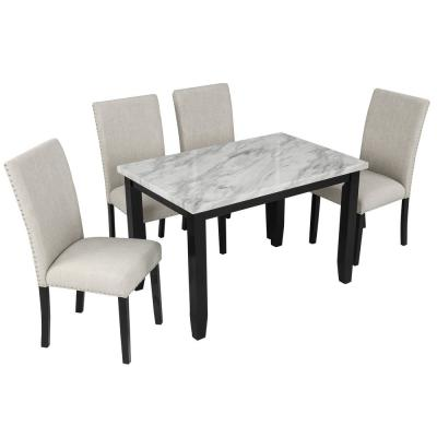 White/Beige Faux Marble 5-Piece Dining Set Table with 4 Upholstered Parsons Chairs Home Furniture