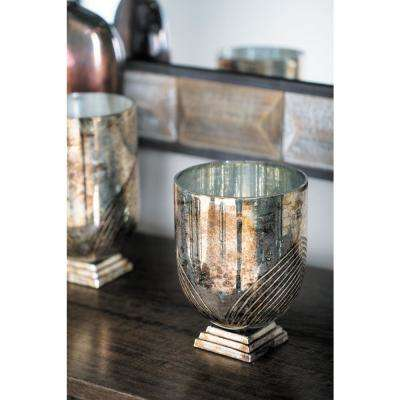 9 in. Distressed Silver Linear Patterned Cup-Shaped Glass Candle Holder