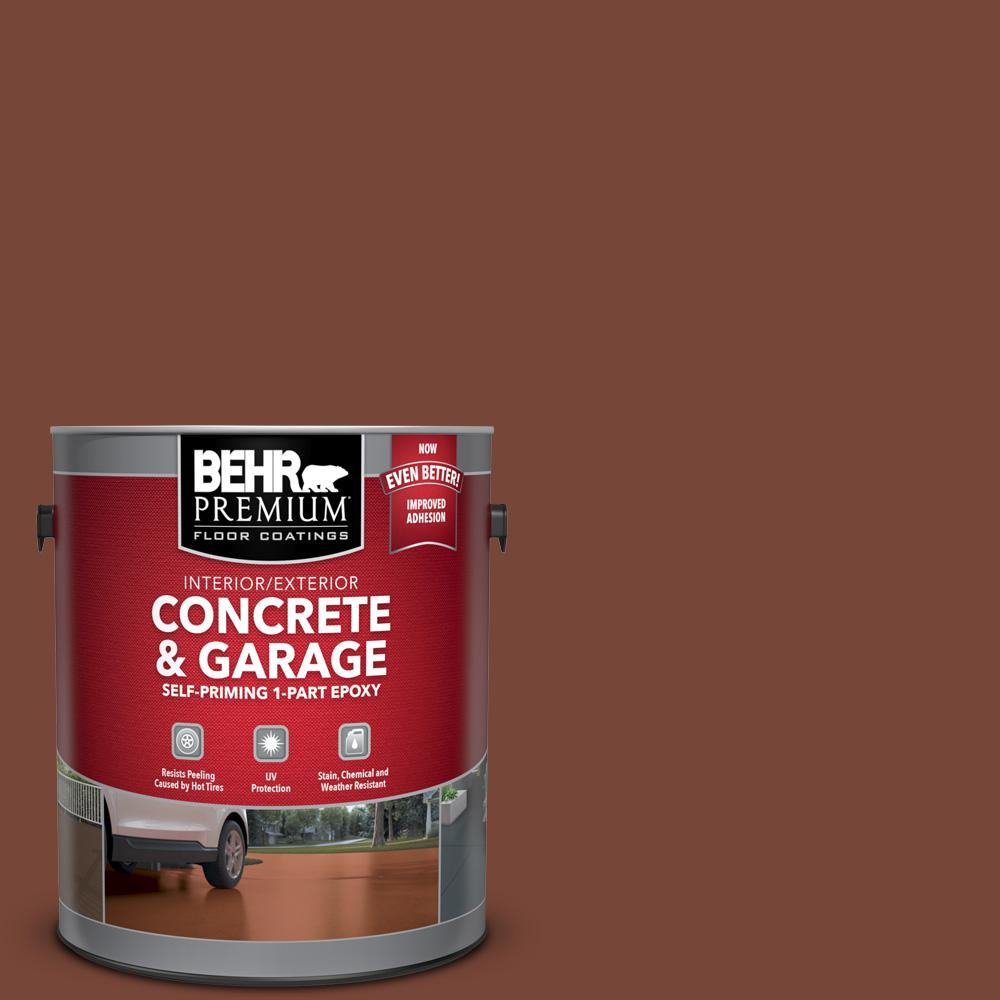 BEHR Premium 1 gal. #S200-7 Earth Fired Red Self-Priming 1-Part Epoxy Satin Interior/Exterior Concrete and Garage Floor Paint