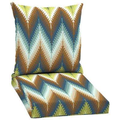 Pueblo Flame Stitch 2-Piece Outdoor Dining Seat Cushion Set