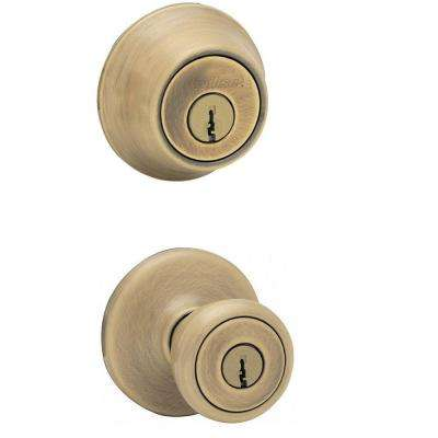Tylo Antique Brass Exterior Entry Knob and Single Cylinder Deadbolt Combo Pack