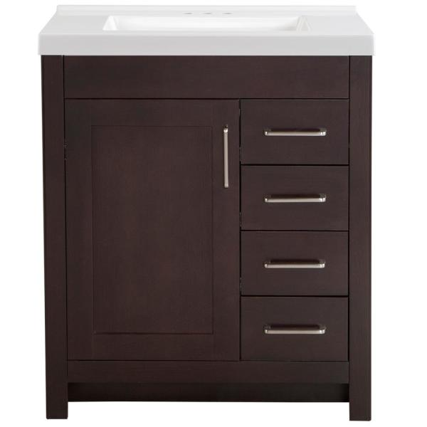Westcourt 31 in. W x 22 in. D Bath Vanity in Chocolate with Cultured Marble Vanity Top in White with White Sink