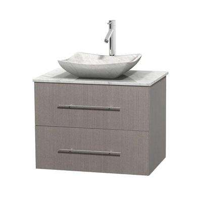 Centra 30 in. Vanity in Gray Oak with Marble Vanity Top in Carrara White and Sink