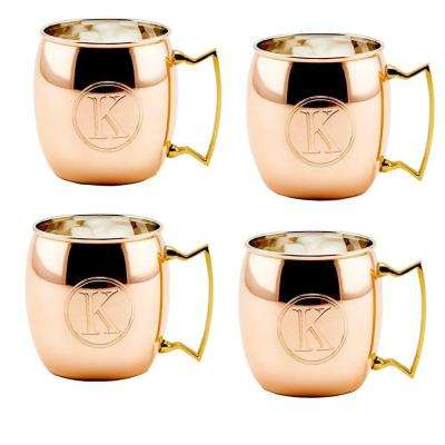 Monogram K 16 oz. Solid Copper Moscow Mule Mugs (Set of 4)
