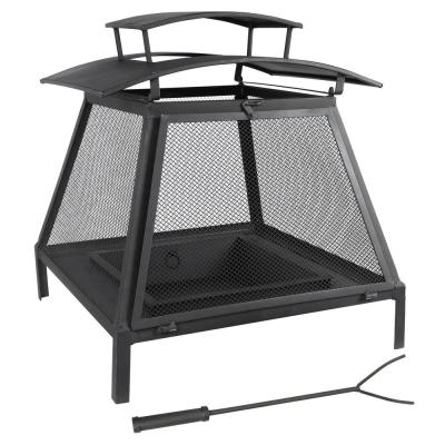 24 in. x 24 in. x 21 in. Square Steel Wood and Coal Outdoor Fire Pit Fireplace in Black with Poker
