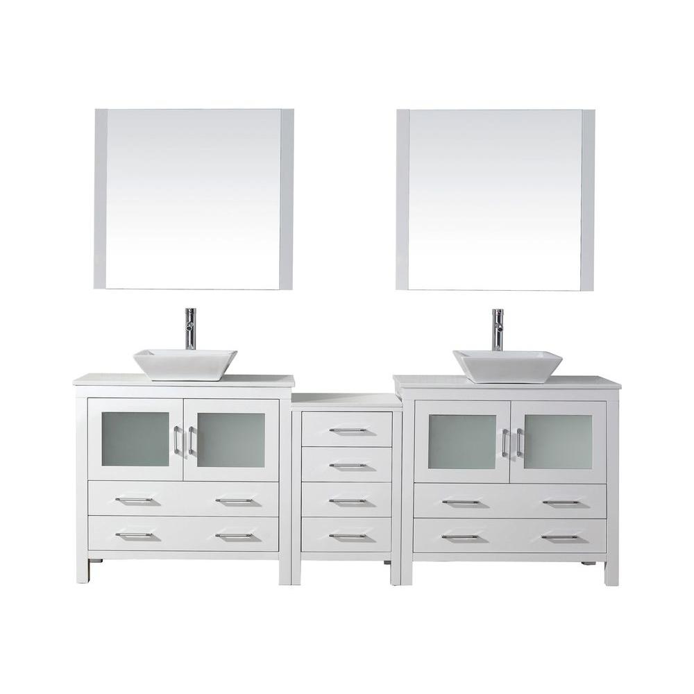 Virtu USA Dior 91 in. W Bath Vanity in White with Stone Vanity Top in White with Square Basin and Mirror and Faucet