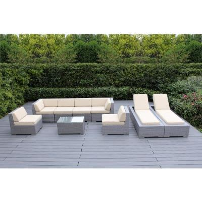 Gray 9-Piece Wicker Patio Combo Conversation Set with Supercrylic Beige Cushions