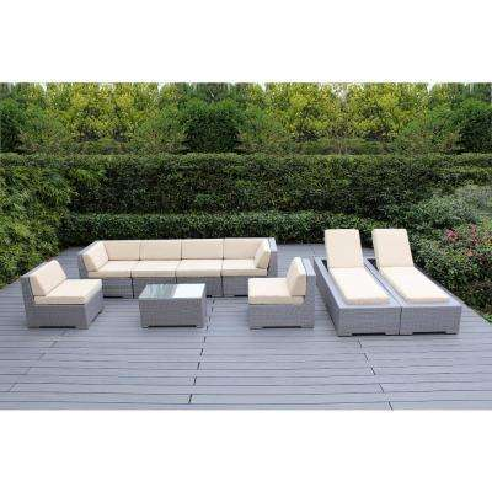 Gray 9-Piece Wicker Patio Combo Conversation Set with Spuncrylic Beige Cushions