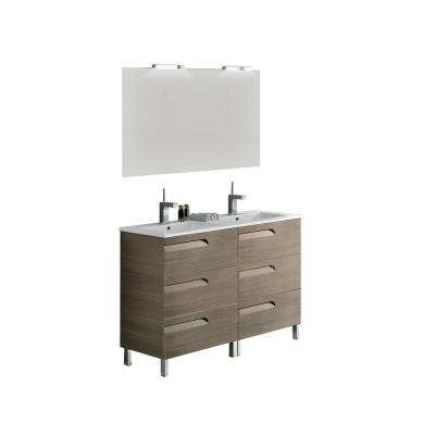 Vitta 48 in. W x 18 in. D x 34 in. H Vanity in Ash with Porcelain Top in White with White Basin