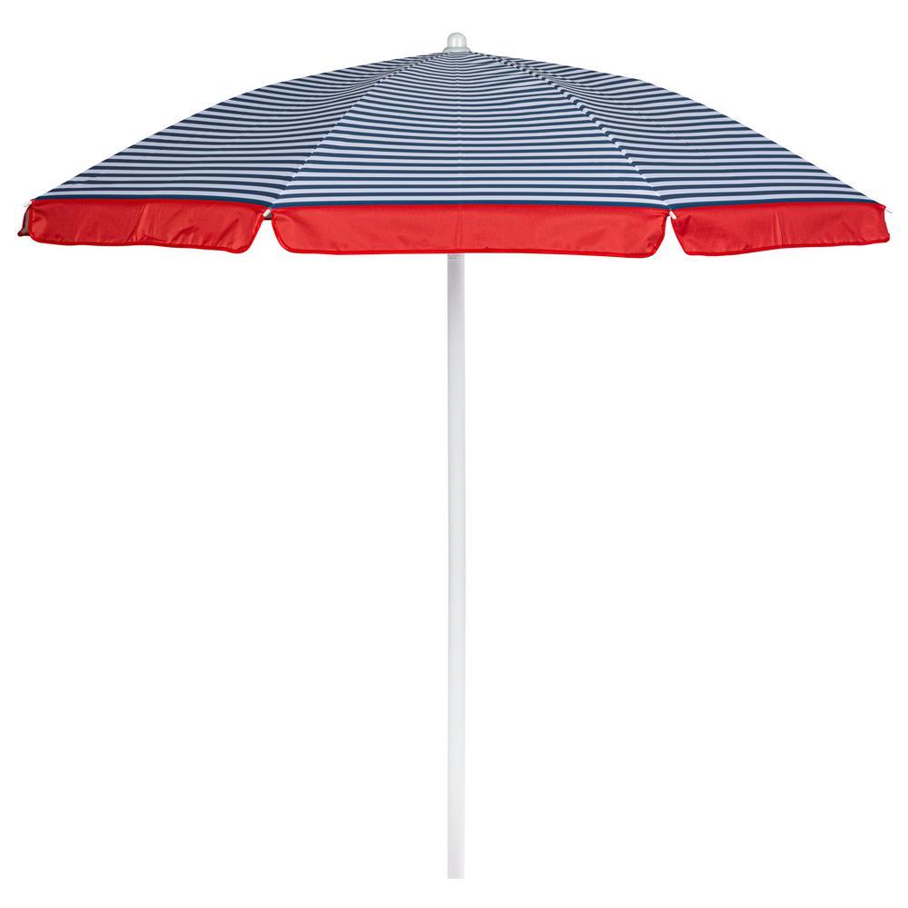 5.5 ft. Portable Beach Umbrella in Blue Pinstripe Pattern